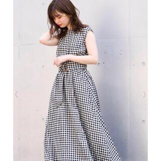 natural couture - べっ甲Dかん太ベルト涼しげワンピース(チェック)