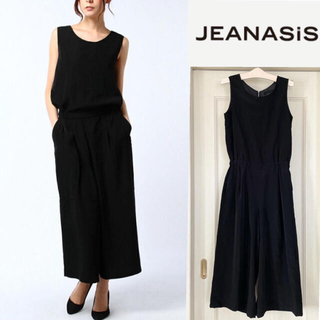 JEANASIS - JEANASiS ジーナシス   ワイドCコンビネゾン  黒 オールインワン