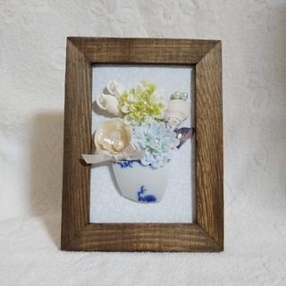 貝殻アートフレーム♡貝殻とお花のアレンジメント♡アンティーク風L版-ブルー-(アート/写真)