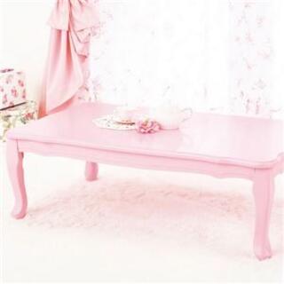 猫脚 折りたたみテーブル【正方形 ピンク】 幅75cm×奥行75cm(ローテーブル)
