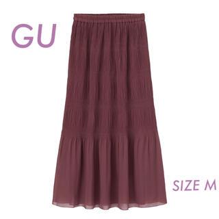 ジーユー(GU)のGU ランダムプリーツロングスカートQ  ピンク Mサイズ(ロングスカート)