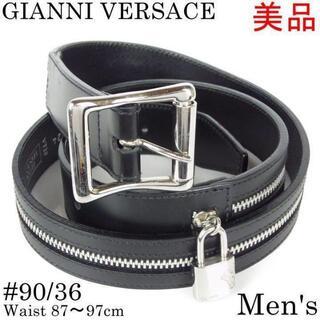 ジャンニヴェルサーチ(Gianni Versace)のジャンニ ヴェルサーチ 美品 メンズ 90/36 ファスナー 南京錠 ベルト(ベルト)