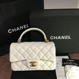 CHANEL - CHANEL 超美品トップハンドル ミニ フラップ バッグ ホワイト
