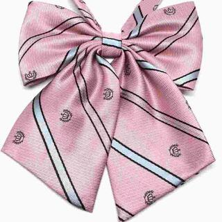 制服リボン 紋章ストライプ ピンク 上質 ふんわり //aal(ネクタイ)