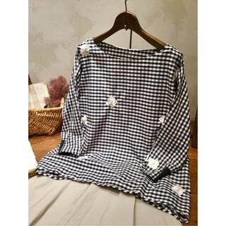 BEARDSLEY - BEARDSLEY ビアズリー 花 刺繍シャツ Tシャツ ギンガムチェック