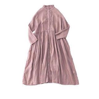 nest Robe - ネストローブ nestRobe リネンフリンジカラーギャザードレス