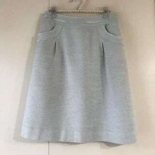 クレージュ(Courreges)のcourreges ♡ ツィード台形スカート ひざ丈 ライトブルー (ひざ丈スカート)
