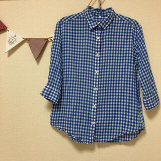 MUJI (無印良品) - 無印良品 ギンガムチェックシャツ 七分袖 S