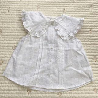 petit main - プティマイン ビッグ襟ブラウス ホワイト