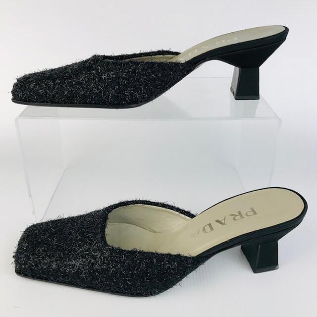 PRADA(プラダ)の美品★PRADA★ラメ繊維加工 スクエアトゥ ミュール(35) レディースの靴/シューズ(ミュール)の商品写真