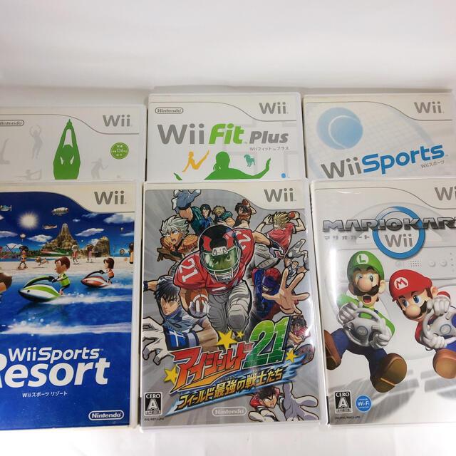 Wii(ウィー)のWii 本体3色電源ケーブルセンサーバーリモコンまとめセットソフト6本 エンタメ/ホビーのゲームソフト/ゲーム機本体(家庭用ゲーム機本体)の商品写真