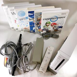 Wii - Wii 本体3色電源ケーブルセンサーバーリモコンまとめセットソフト6本