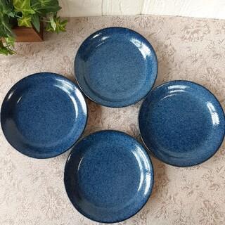 【4枚】新品 日本製 美濃焼 窯変紺 ネイビー 16cm 取り皿 ケーキ皿に(食器)