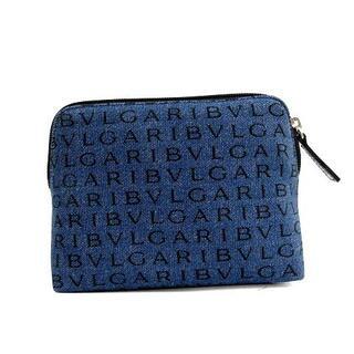 ブルガリ(BVLGARI)のブルガリ BVLGARI ロゴマニア デニムポーチ 化粧ポーチ 総柄 青 黒(ポーチ)