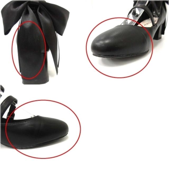 マイラクラシック パンプス チャンキーヒール リボンモチーフ レザー 36 黒 レディースの靴/シューズ(ハイヒール/パンプス)の商品写真
