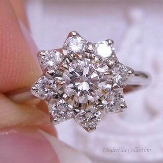 大特価★Pt900天然ダイヤモンド★縁起の良いエイトフラワーギラギラリング