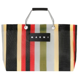 Marni - マルニ フラワーカフェストライプバッグ ミニ イノックスグレー