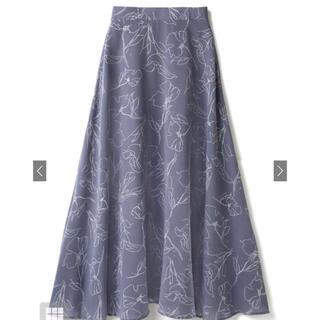 GRL - 手書き風花柄フレアスカート ブルー