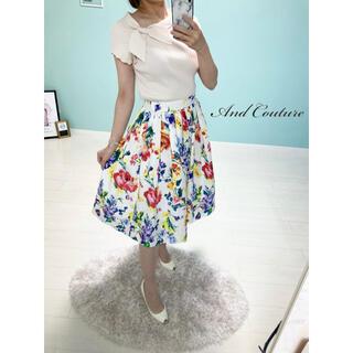 アンドクチュール(And Couture)のAnd Couture*花柄タックフレアスカート❤️サイズ36(ひざ丈スカート)