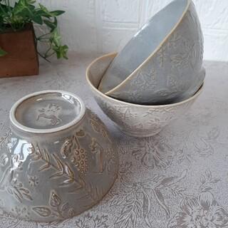 【3個】新品 日本製 美濃焼 茶碗 飯碗 ボウル ハミングバード 3色セット(食器)