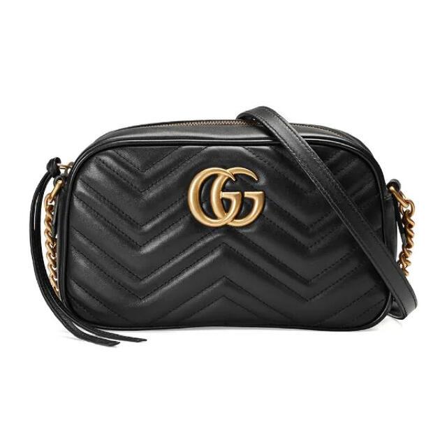 Gucci(グッチ)のGUCCIグッチ☆GGマーモントキルテイングスモールショルダーバッグ 黒ブラック レディースのバッグ(ショルダーバッグ)の商品写真