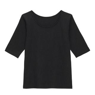 ジーユー(GU)のGU リブ2WAYコンパクトT 5分袖 リブニット 黒 ブラック(カットソー(半袖/袖なし))