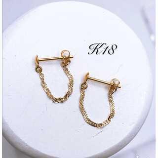 k18 18金 スクリューチェーン ピアス フープピアス