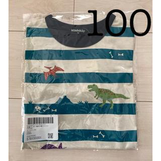 クレードスコープ(kladskap)のクレードスコープ 恐竜ボーダー切替Tシャツ ロンT  長袖 100  ネイビー(Tシャツ/カットソー)