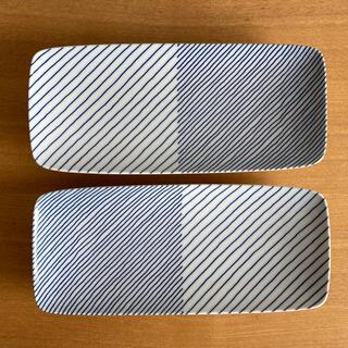 白山陶器 - 白山陶器 重ね縞 長焼皿 2枚セット