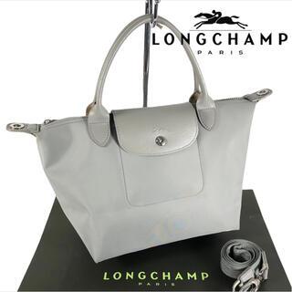 LONGCHAMP - 2way プリアージュ Longchamp レザー x ナイロン 舟形 トート