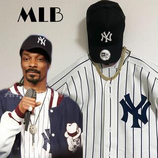 美品 MLB スヌープ着用 NYヤンキース ベースボールシャツ ビッグサイズ 白