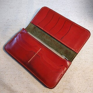 栃木レザー 長財布 ウォレット 日本製 本革 牛革 サイフ 深緑 赤