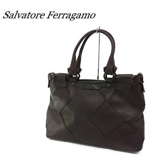サルヴァトーレフェラガモ(Salvatore Ferragamo)のSalvatore Ferragamo ハンドバッグ ブラウン レザー(ハンドバッグ)
