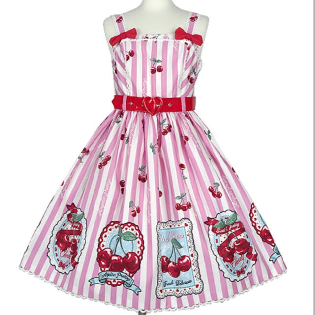 Angelic Pretty(アンジェリックプリティー)のCherry stamp ピンク jsk  レディースのワンピース(ひざ丈ワンピース)の商品写真