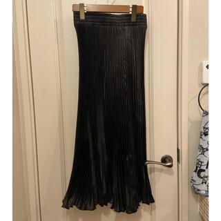 ZARA - 黒メインに出品中 プリーツスカート サテン ブラック