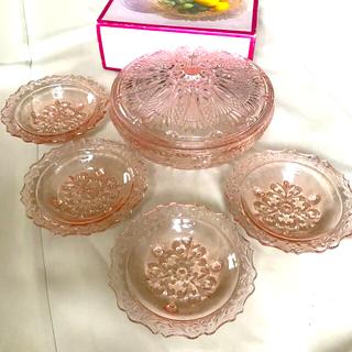 東洋佐々木ガラス - 【新品】東洋ガラス ピンクガラス 硝子ボウル プレート皿4枚セット