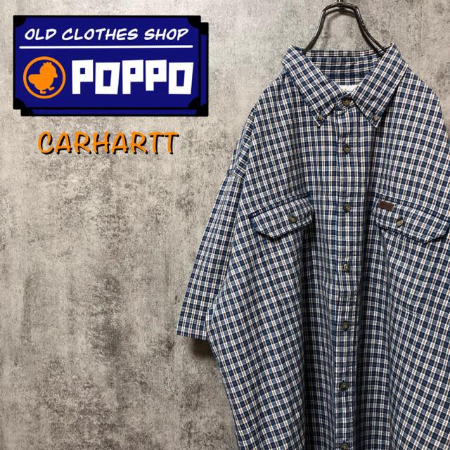 カーハート☆レザーロゴフラップ付きダブルポケット半袖ビッグワークチェックシャツ メンズのトップス(シャツ)の商品写真