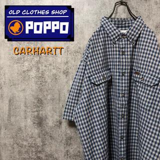 carhartt - カーハート☆レザーロゴフラップ付きダブルポケット半袖ビッグワークチェックシャツ