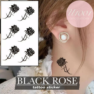 [F-3/Black Rose] タトゥーシール 薔薇 バラ 黒 おしゃれ 韓国