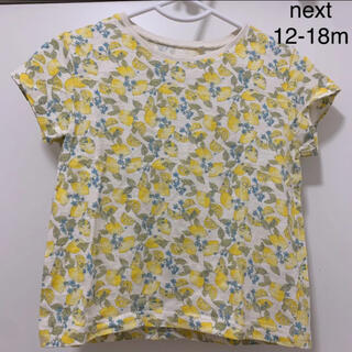 ネクスト(NEXT)のnext イエローレモン柄半袖Tシャツ12-18m86cm 女の子(Tシャツ/カットソー)