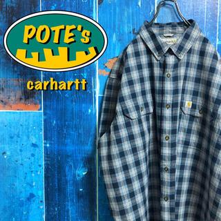 carhartt - 【カーハート】ロゴタグ入りフラップ付きダブルポケット半袖ワークチェックシャツ