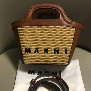 Marni - マルニ MARNI レザー&ラフィア マイクロバッグ
