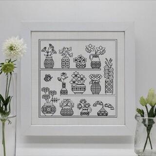ブラックワーク刺繍図案「HappyBirthdayFlower」(型紙/パターン)