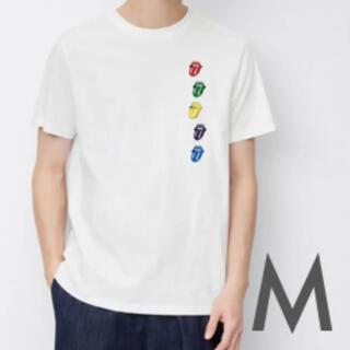 ジーユー(GU)のM 新品 公式 ローリングストーンズ レインボー ホワイト ロゴ Tシャツ GU(Tシャツ/カットソー(半袖/袖なし))