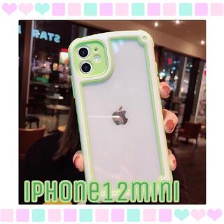 シンプル フレーム iPhone用ケース iPhone12mini グリーン