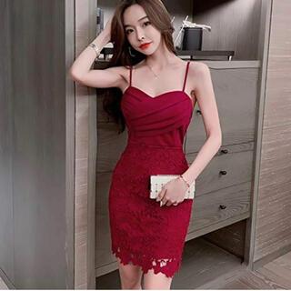 【本日限定セール】DURAS系 韓国ファッション レースキャバドレス 赤