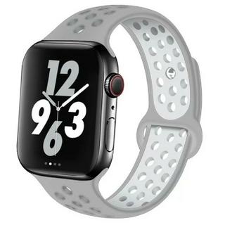 Apple Watch スポーツ バンド 42/44mm シルバー/ホワイト(ラバーベルト)