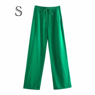 グリーン 緑 フルイドパンツ ストレッチパンツZARA