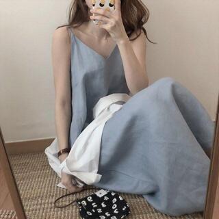 【ブルー】ノースリーブ無地で可愛いキャミワンピース(ロングワンピース/マキシワンピース)