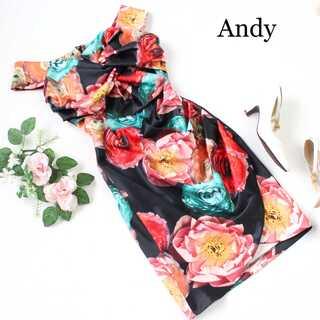アンディ(Andy)のアンディ★フラワープリント 体型カバー タイト ミニ キャバドレス 黒 M(ナイトドレス)